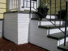 front steps Painted Concrete Steps, Concrete Front Steps, Cement Steps, Brick Steps, Concrete Stairs, Painted Steps, How To Paint Concrete, Exterior Concrete Paint, Repairing Concrete Steps