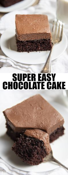 This easy chocolate cake is the best chocolate cake ever, it's fudgy, moist, and so delicious. It's topped with a creamy and rich chocolate buttercream and is the perfect cake for chocolate lovers! Made in a pan, it's the easiest cake there is! Chocolate Cake Recipe For Kids, Chocolate Chip Cookies, Easy Moist Chocolate Cake, Chocolate Cake From Scratch, Best Chocolate Cake, Chocolate Buttercream, Chocolate Lovers, Chocolate Chocolate, Delicious Chocolate