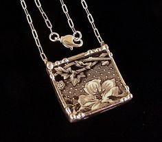 Broken china jewelry necklace black and white floral toile English transferware