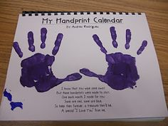 "Handprint calendar. Such a cute idea!!! Each month has a different ""handprint art"" pertaining to the month. Could make for parents as Christmas gift to send home."