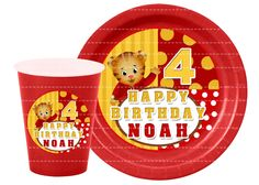 Cute Daniel Tiger Digital Plate and Cup Stickers,