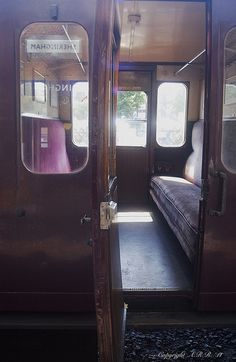 North Norfolk Railway : British Rail Mk 1 - Suburban Non Corridor Compartment Carriage Interior : Sheringham Station : Orient Express, Train Car, Train Travel, Booth Seating, Trains, British Rail, Train Journey, Time Travel, Travel Style