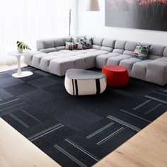 LIVING ROOM // gray, black + red accents
