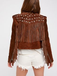 Paris Texas Crop Fringe Jacket | Super luxe and buttery-soft genuine suede jacket in a moto silhouette and cropped length. * Allover metal star stud detailing * Statement fringe accents * Zip front closure * One zip front pocket * Edgy zippers on the sleeves * Lined