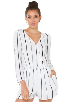 8bfce478e053 Cute White Black Striped Long Sleeve Wrap Front Romper