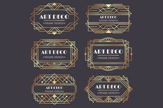 Ad: Art deco border frame divider by Tartila on Creative Market. - Ad: Art deco border frame divider by Tartila on Creative Market. Art Deco Borders, Motif Art Deco, Art Deco Pattern, Art Deco Design, E Design, Design Elements, Logo Design, Vector Design, Design Trends