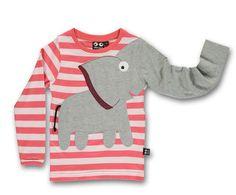 Baby-und Kinder Elefanten Langarm Shirt Streifen Pink Ubang