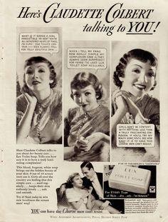 CLAUDETTE COLBERT LUX SOAP ad Screen Play 1934 (minkshmink)