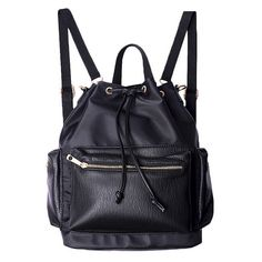 Wayward Backpack (110 AUD) ❤ liked on Polyvore featuring bags, backpacks, accessories, bolsas, black, knapsack bag, backpack bags, day pack backpack, fake leather backpack and vegan leather bags