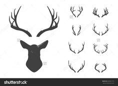 Deer's head and antlers set. Design elements of deer. Vector EPS8 illustration.
