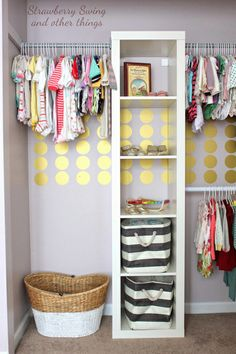 closet - shelving unit and tension rods or closet bar and we could make a hanging area!
