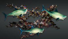 Final Photo shoot 3-piece wall-mount with LED lighting by artist, Michael Hopko #sharkweek #hopkoartglass #greatwhite #wallmount #lighting #homedecor #sharkweek2016 #beachhouse #interiordesign