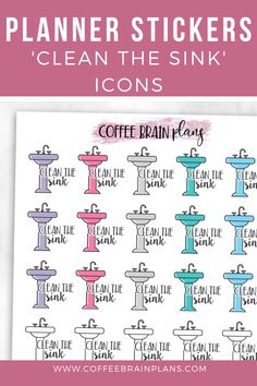 Clean the Sink Icon Planner stickers for ANY planner. Text Icons, Script Text, Planner Stickers, How To Find Out, Brain, Sink, How To Remove, Notes, Cleaning