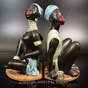 Absolutely Rare and Stunning Pair of Blackamoor Bookends - Made and Signed by famous German .1950s -360$.