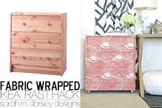 Ikea Rast Dresser Hack | Fabric Wrapped with Custom Ring Pulls and Acrylic Casters | sarah m. dorsey designs | Bloglovin'