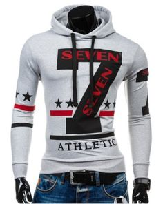 Personality Hooded Drawstring Star Letters Number Pattern Long Sleeves  Hoodie For Men b55c020fa
