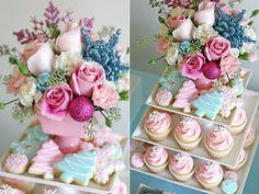 Pastel flowers, cookies and cupcakes