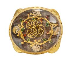 Museum Quality 18th C. Memento Mori Slide with four skull and cross bones.  I wonder if this belonged to a pirate.  I wish I could buy it.  $7850 USD