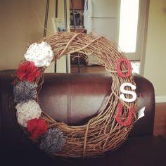 DIY Ohio state wreath I made! Ready for football season, go buckeyes!