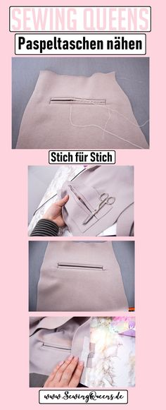 Paspeltaschen nähen Stich für Stich Anleitung von Sewing Queens At Sewing Queens we show you how to sew your piped pockets by yourself – easy to understand step by step instructions in many pictures, great explained and quickly sewn with Sewing Queens! Hand Work Embroidery, Embroidery Patterns Free, Floral Embroidery, Sewing Patterns, Sewing Tools, Sewing Hacks, Free Sewing, Hand Sewing, Sewing Dress