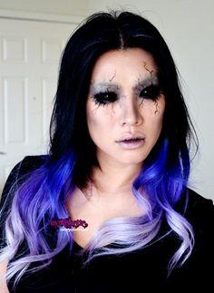 ombre+makeup+Halloween | Purple Blue Ombre Hair