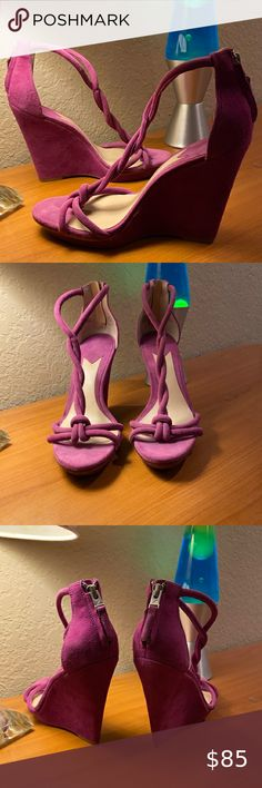 """BRIAN ATWOOD PURPLE SUEDE WEDGE HEELS Beautiful deep lavender suede high, high wedge heels by David Atwood are only gently used!!! Featuring twisted rope on top of feet and rear zip closure, Size 8 (See measurements for sizing also). In excellent condition! Measurements: Length: 10"""" Width: 3-1/4"""" Heel height: 5"""" Brian Atwood Shoes Wedges Purple Suede, Black Suede, Leather Wedge Sandals, Wedge Heels, Brian Atwood Shoes, Pink Wedges, Satin Pumps, Womens Shoes Wedges, Lavender"""