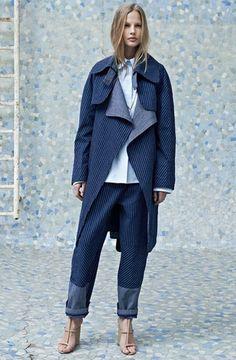 OVER-SIZED COATS: Chloé Pin-striped denim coat