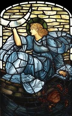 "EDWARD BURNE - JONES * 1833-1898 * British * Aestheticism ~ Symbolism ~ Pre-Raphaelite ** onuen: ""Luna"" ~ stained glass."