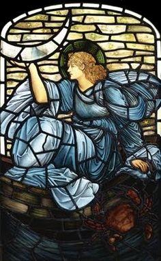 "EDWARD BURNE - JONES * 1833-1898 * British * Aestheticism ~ Symbolism ~ Pre-Raphaelite ** onuen: ""Luna"" ~ stained glass."