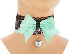 Black pink satin Day Collar kitten play Pet by FashionForWomen