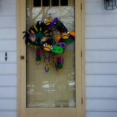 My Mardi Gras wreath--created in November with Halloween mark-downs
