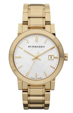 Burberry Rose Gold Bracelet Watch with Check Etching, Jewelry & Accessories - Watches - All Watches - Bloomingdale's Burberry Watch, Burberry Women, Baby Burberry, Stainless Steel Watch, Stainless Steel Bracelet, Cool Watches, Watches For Men, Women's Watches, Luxury Watches