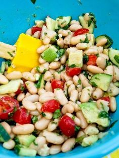 White Bean Salad.  A healthy salad recipe that is super easy to make.  Great with dinner or for your next barbeque.