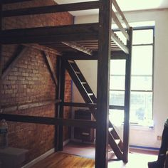 Adult Loft Bed With Stairs With Rustic Wooden Design And Expose Brick Wall Decorations