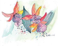 Fuschia Flower Watercolour Art Drawing 8x10 by CloudsofColourShop, $25.00