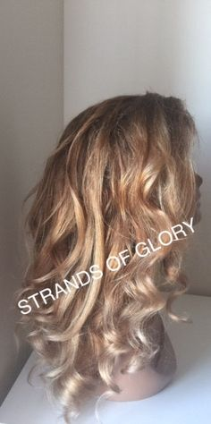 Full Lace Wig  Blonde with Highlights by StrandsofGloryWigs
