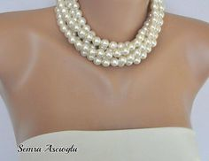 Chunky Layered Ivory Pearl Necklace brides by HMbySemraAscioglu, $52.00
