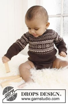 Knitted body with raglan and Nordic pattern for baby and children in DROPS Baby Merino or DROPS BabyAlpaca Silk