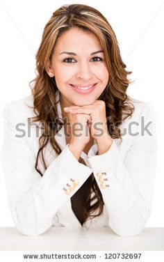 stock photo : Happy business woman smiling - isolated over a white background