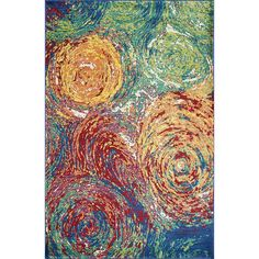 2 x 3' Light Rainbow Indoor Watercolor Painting Fiesta Area Rug Polypropylene Pretty Color Bright Dazzling Vivid Blend Graphic Stylish Fancy Paint