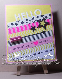 made by femke niessen. washi tape card. dienamics used: blueprints 7, stacking stars, feathers and arrows, peek a boo chevrons.