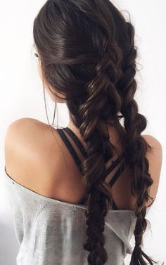 15 Long Dark Brown Hairstyles: Two Braided Dark Brown Hair; 15 Long Dark Brown Hairstyles: Two Braided Dark Brown Hair; Luxy Hair Extensions, Extensions Hair Styles, Dark Brown Hair Extensions, Help Hair Grow, Brown Hair Colors, Hair Day, Hair Looks, Curly Hair Styles, Hair Cuts