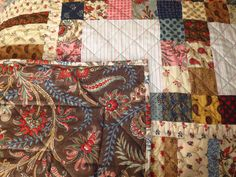 "Quilt & Cushions for my Stepdaughter Victoria - Using Moda ""Collection for a Cause - Love"" Mini charm packs (2 1/2"" squares) + complimentary Moda Fabrics - Close up of Backing & Binding"