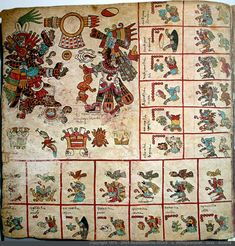 """Page 1 Codex Borbonicus. Ventas of Mazatl trecena. Tepeyollotl, the jaguar aspect of Tezcatlipoca has a protuberant bone/smoking mirror that replaces his front foot. He is speaking to Quetzalcoatl who has yellow and black face paint and a conch shell nearby. They are framed below a shield and spears, and Quetzalcoatl is carrying an atl atl, or """"spear thrower"""" in the back hand. Below them are sacrifices, including the cuauhxicalli, or """"eagle vessel"""" for holding human hearts. -Taylor Bolinger"""