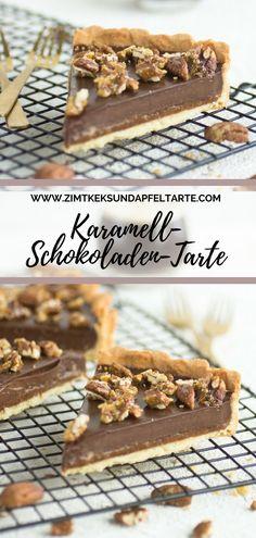Karamell-Schokoladen-Tarte - caramel chocolate tart with pecans Chocolate Pies, Chocolate Caramels, Chocolate Ganache, Chocolate Toffee, Salted Caramels, Tart Recipes, Snack Recipes, Dessert Recipes, Brownie Recipes