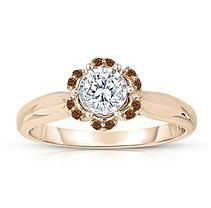 0.35 CT. TW. Brown and White Round Cut Diamond Ring in 14K Rose Gold (HI,I1)