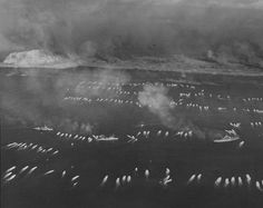 The first wave of landing craft at Iwo Jima, 19 Feb 1945, photo 2 of 5
