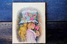 1970s Anthony Gruerio Art Lithograph Blonde Girl in Flower