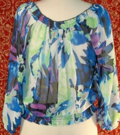 JONATHAN MARTIN blue artsy sheer cinch waist long sleeve blouse S (T2402C7G) #JonathanMartin #Blouse #Casual