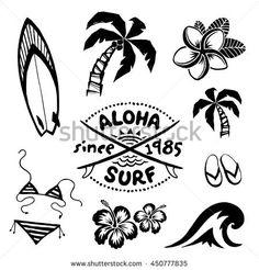 Tropical surfing and relax symbols ink sketch set in tattoo style Tropisches Surfen und entspannen s Surfboard Drawing, Surf Drawing, Surf Tatoo, Surfing Wallpaper, Tatuagem Diy, Tattoo Tribal, Surf Logo, Surfing Quotes, Pinturas Disney